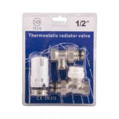Комплект радиаторных кранов SD Plus с термоголовкой 1/2