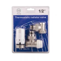 SD Комплект кранов с термоголовкой радиаторный угловой 1/2'' SD352W15